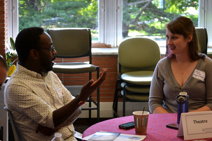 Librarian Sarah Wingo with new Theatre faculty member James ljames.