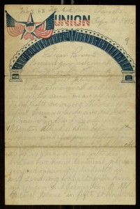 "Front,  Letter, To: ""Dear Parents"" From: William C. White, February 3, 1862"