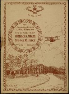Front cover, Menu for the Officers' Mess Peace Dinner, Norton Hall, Sheffield, July 11th 1919.