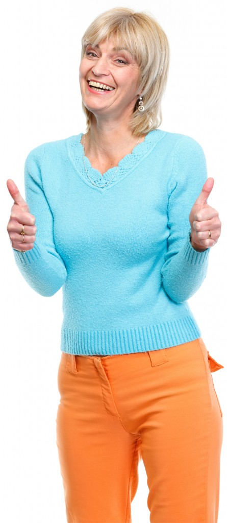 Middle age woman showing thumbs up