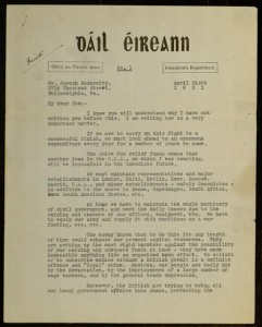 Letter, To: Joseph McGarrity From: Eamon De Valera, April 6, 1921