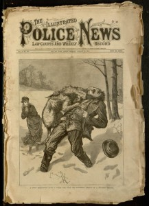 Front cover, The illustrated police news, law courts and weekly record, v. 21, no. 533, January 13, 1877.