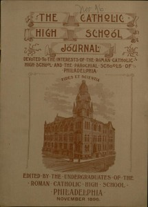 Front cover, The Catholic High School Journal, v. V, no. 3, November 1896
