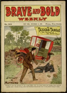 Front cover, A taxicab tangle; or, The mission of the Motor Boys.