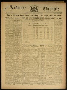 Front cover, Ardmore Chronicle , Saturday, October 27, 1917