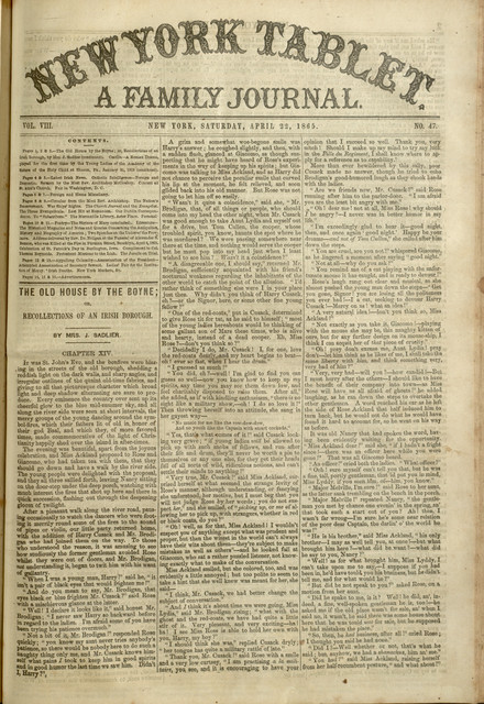 New York Tablet : A Family Journal, v. VIII, no. 47, April 22, 1865 (see pages 8+)