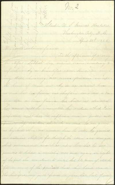 "Letter, To: ""My gentle unknown friend"" From: Henry O. Nightingale, April 30, 1865"