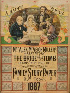 New York Family Story Paper Bride of the Tomb 1887 calendar