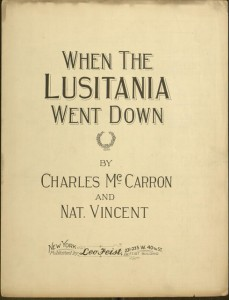 Front cover, When the Lusitania went down / by Charles McCarron and Nat. Vincent