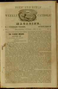 Front cover, The Boys' and Girls' Weekly Catholic Magazine, v. 1, no. 45, Saturday, April 10, 1847