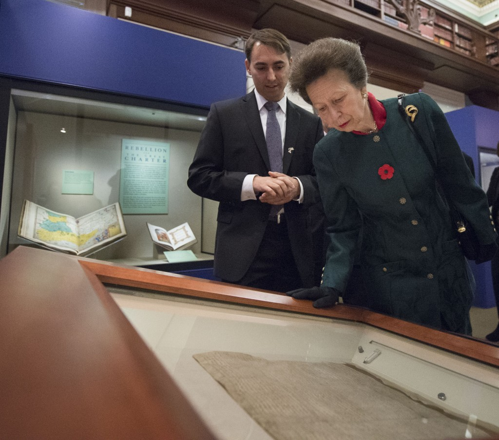 Library curator Nathan Dorn and Princess Anne view the exhibit. Photo by John Harrington. Retrieved 6/8/15 http://blogs.loc.gov/loc/2014/11/pic-of-the-week-princess-anne-opens-magna-carta-exhibition/