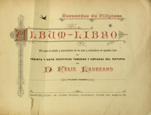 Title page of Recuerdos de Filipinas by Felix Laureano.