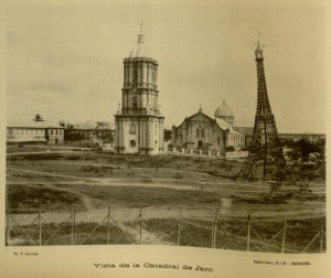 Photograph. Vista de la Catedral de Jaro. View of the Cathedral of Jaro, with an Eiffel Tower reproduction made out of bamboo canes.
