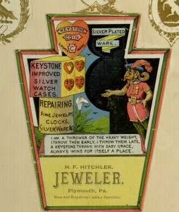 "Selection, [2] p., ""H. F. Hitchler, Jeweler, Plymouth, Pa."",  Trade card scrapbook"
