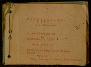 Front cover, Photograph album of reunion trip taken by a group of World War I veterans