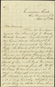 """[1] p., Letter, To: """"Dear Mamma"""" (Ellen Maitland O'Reilly) From: Robert, September 25, 1869"""