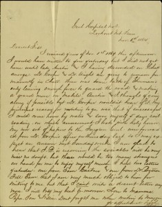 "Letter, To: ""Dear Siss"" (Mary O'Reilly) From: Robert, November 6, 1864"