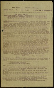 [1, recto], Poblacht na h-Éireann war news, Number 6, Sunday, July 2, 1922