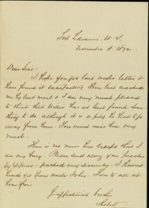 """Front, Letter, To: """"Dear Siss"""" (Mary O'Reilly) From: Robert, November 8, 1872"""