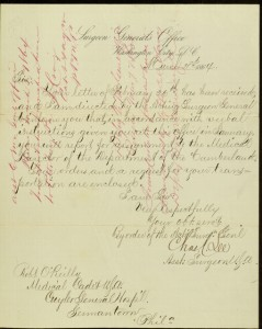 Front, Letter, To: Robert O'Reilly, Medical Cadet From: Charles C. Lee, Assistant Surgeon, March 2, 1864