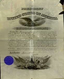 Printed. Military Promotion of Rank Certificate, To: Brigadier General Robert O'Reilly, Surgeon General, U. S. Army Signed: Theodore Roosevelt, President of the United States and Elihu Root, Secretary of War, December 2, 1902.