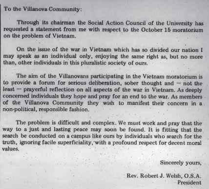 Vietnam Rev Robert J Walsh VU Pres 1969