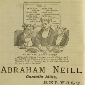 """Abraham Neill, Castalia Mills, Belfast"",  advertisement,  40 p., The Shan Van Vocht, v. I, no. 2, February 7, 1896"