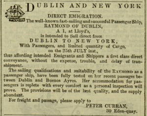 """Dublin and New York. Direct Emigration"" advertisement,  p. 592, The Irish People, v. 1, no. 37, August 6, 1864"