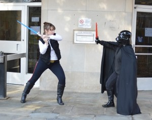Han Solo dueling with Darth Vader