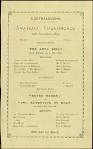 Gurthalougha Amateur Theatricals, December 12, 1892