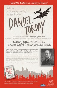 Red border surrounds the picture, a skyline covers the bottom and plane flies in the right frame of the photo. A picture of Daniel Torday is on the right side of the poster towards the bottom. Text describing the event fills the page