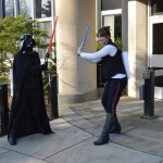 library staff as darth vader and han solo