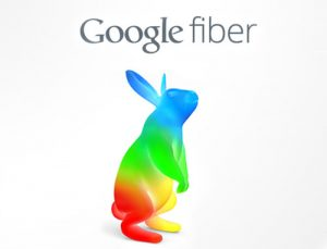 google fiber logo - rainbow bunny rabbit