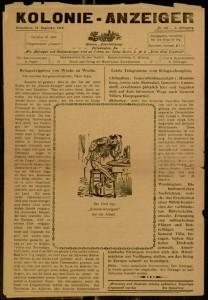 [1] p., Kolonie Anzeiger, 3 jahrgang, no. 122, Saturday, December 16, 1916