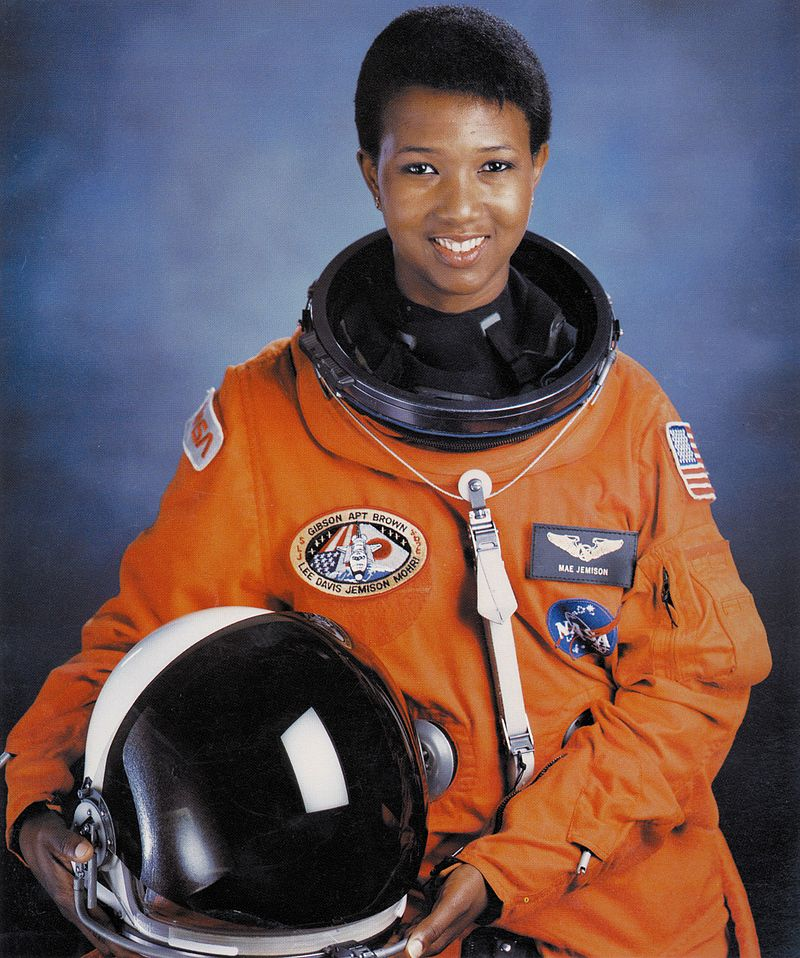 dr mae c jemison in nasa astronaut suit