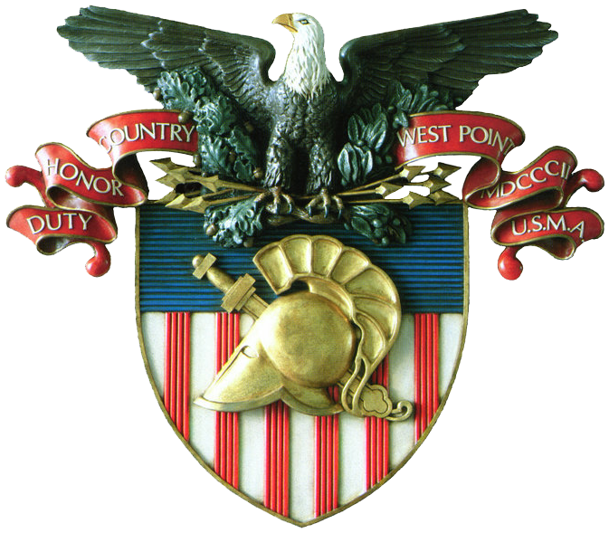 "The united states military academy coat of arms featuring the helmet of pallas athena, the greek sword, and the motto ""Duty, Honor, Country"" over a shield bearing the arms of the united states"