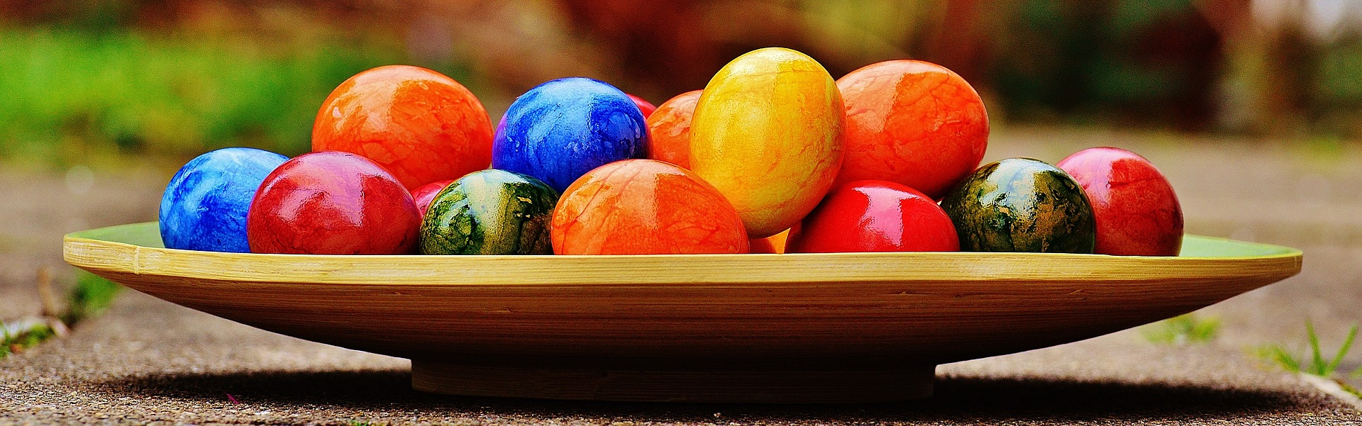 dyed eggs on an oblong plate