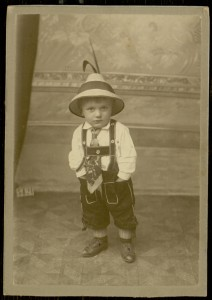Photograph, Standing small boy wearing Lederhosen and an Alpine hat