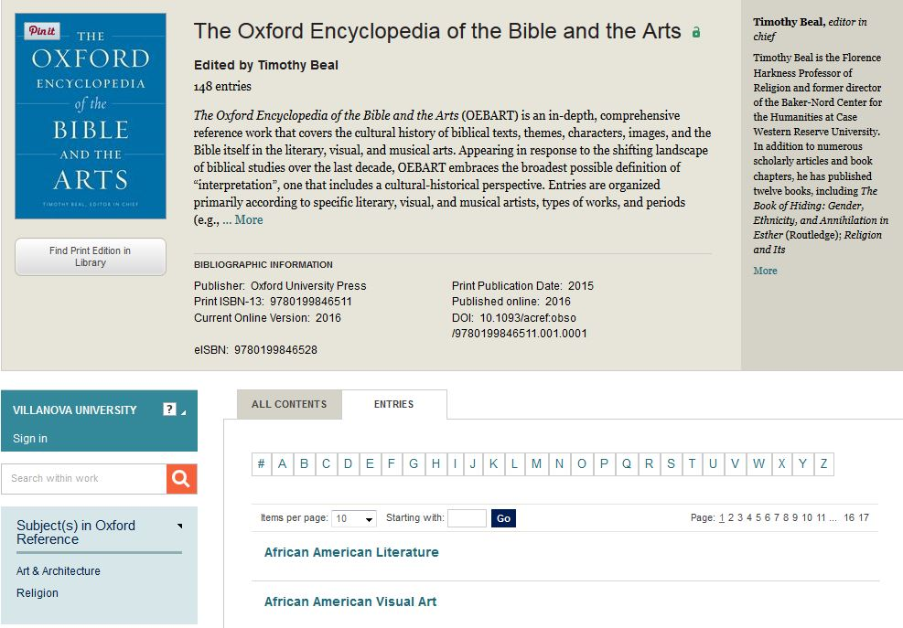 oxford enc of bible and arts