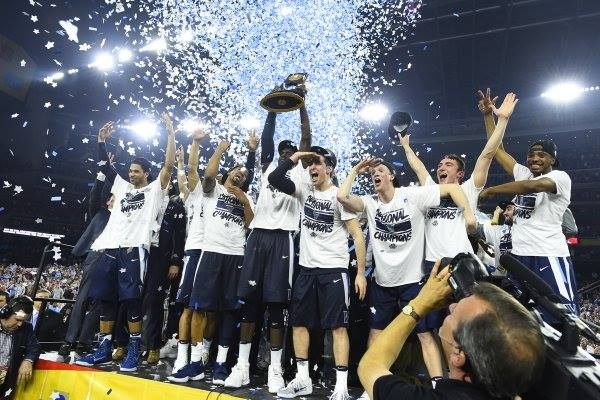 men's basketball team, villanova wildcats, celebrating the 2016 championship win