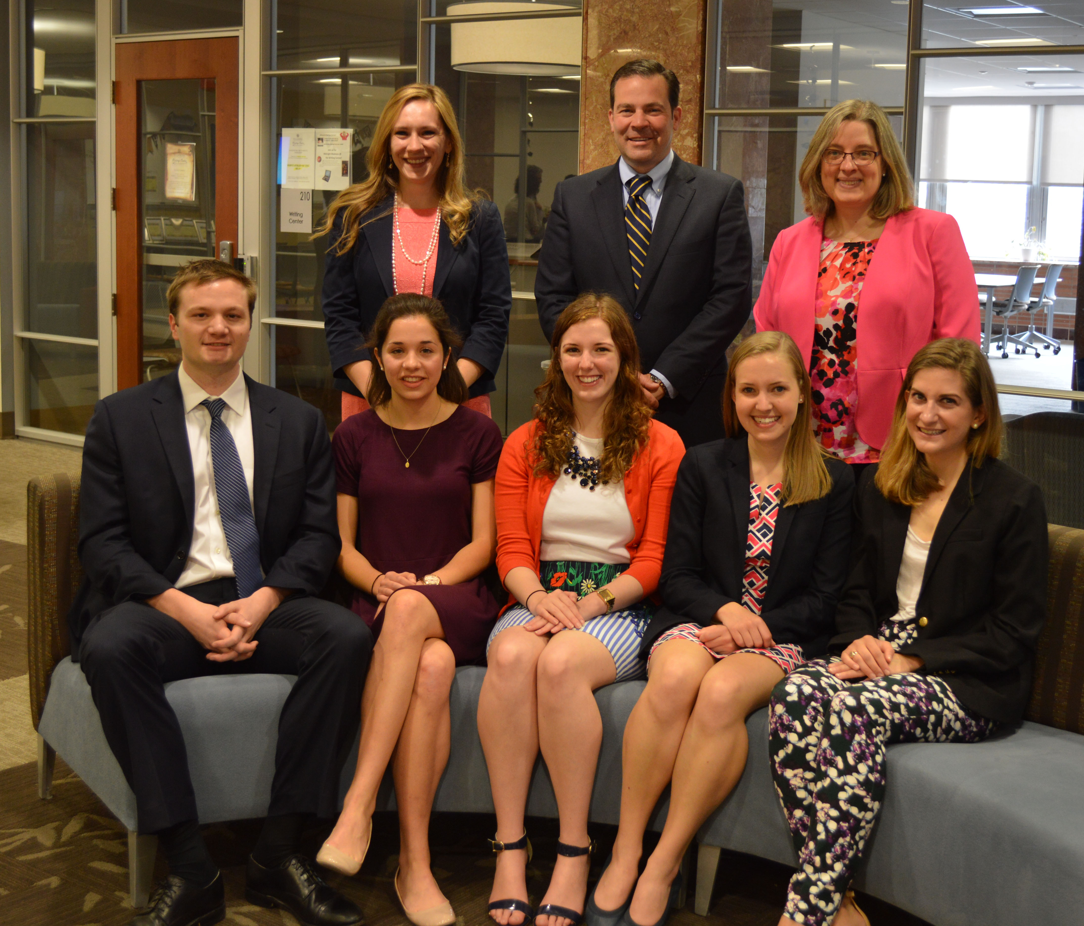 Thomas Cox, Tara Malanga, Chloe DeEntremont, Molly Purnell, Meghan Barker; Catherine Stecyk, Assistant Director for Undergraduate Research, Patrick Maggitti, University Provost, Millicent Gaskell, University Librarian