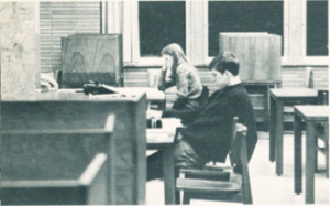 students in falvey, 1973, 1973 yearbook
