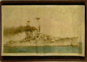 """U.S.S. Florida"", front pastedown, Scrapbook of Grady H. W. Lockhart, U.S. Marine in WWI"