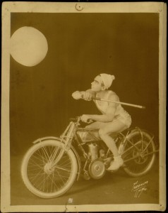[Photograph 4, recto], Photograph album, Oxford Trio, Basketball Bicycle theater vaudeville act travelling America in 1914-1916