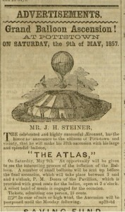 "Selection, [3] p.,  ""Grand Balloon Ascension"", National Defender, v. I, no. 38, Tuesday, April 28, 1857, [Whole Number: 38]"