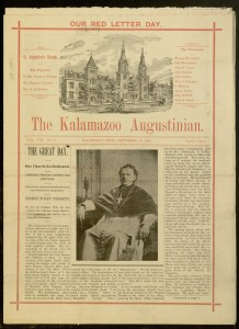 [1] p., The Kalamazoo Augustinian, v. VIII, no. 15, September 26, 1986