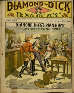 Front cover, Diamond Dick's man-hunt; or, The terror of the Yellowstone