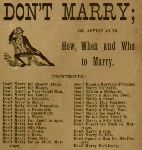 "Front cover, selection, ""Don't marry"""
