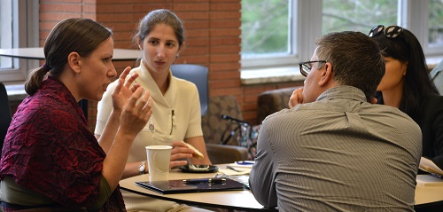 New faculty meet with Rob LeBlanc, first year experience/humanities librarian