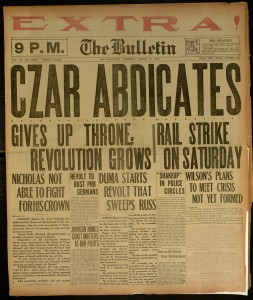 "[1] p., Bulletin (San Francisco), v. 123, no. 136, Thursday March 15, 1917 (Extra issue - ( 9 PM ""Czar Abdicates"")"